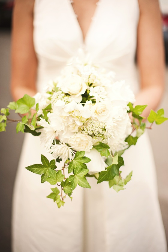 Bridal bouquet with mixed white flowers and ivy