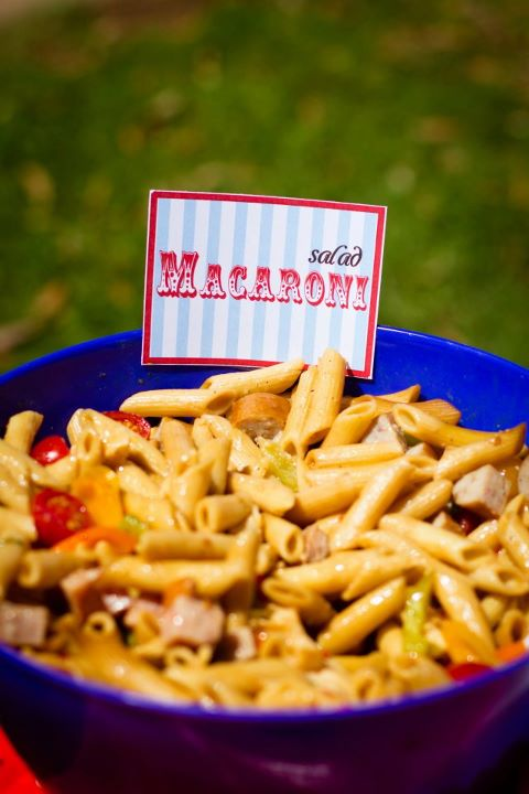 Pasta Salad with Printed Materials by Events by Elisa