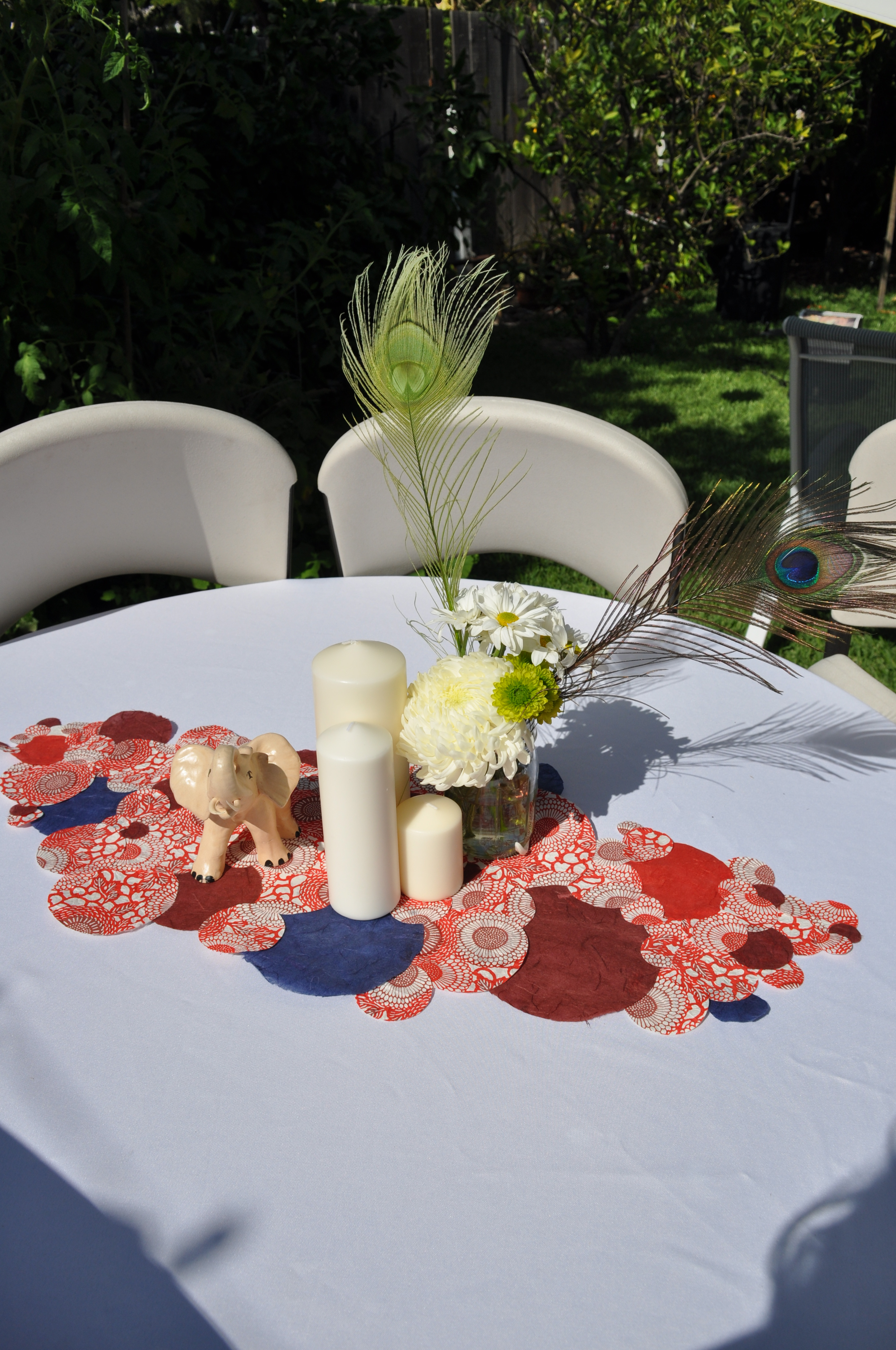Table runner on round table - Handcrafted Rice Paper Centerpiece For The Family S Round Table By Events By Elisa