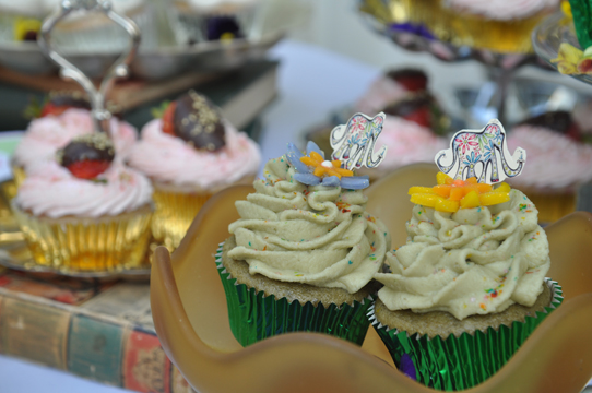 Elephant-topped cupcakes by Courtesan Cupcakes!