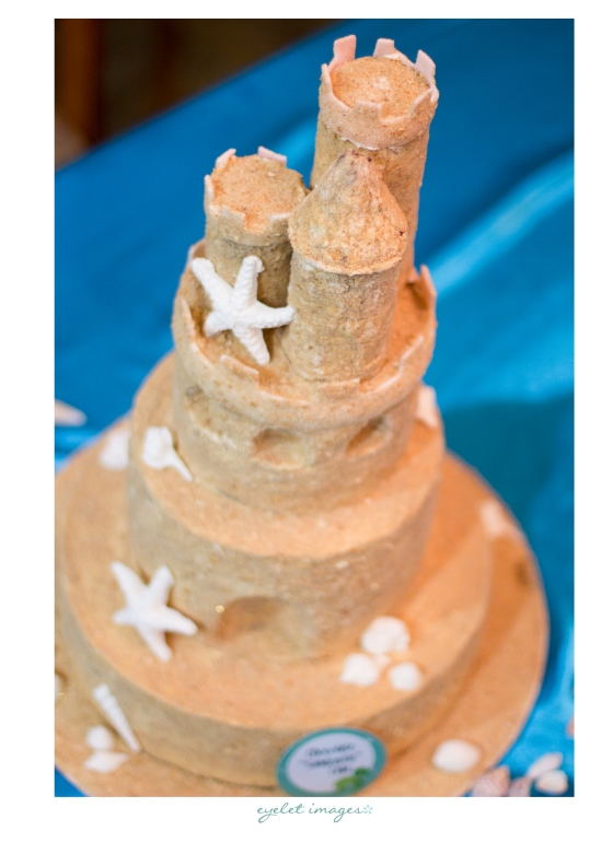 A sand castle made of cake, by Hey There, Cupcake!