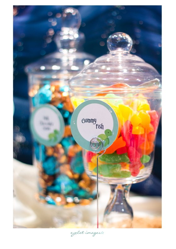 Gummy fish and Godiva Gems on the Under the Sea Sweets Table created by Events by Elisa